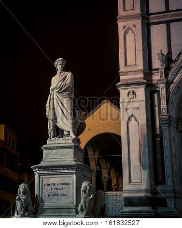 The dante statue at santa croce in florence italy