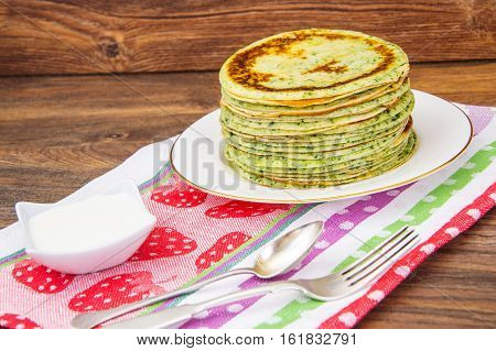 Tasty Pancakes Stack with Spinach Studio Photo