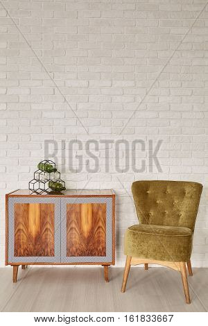Ethnic Dresser And Green Chair