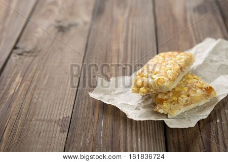Organic granola on wooden table