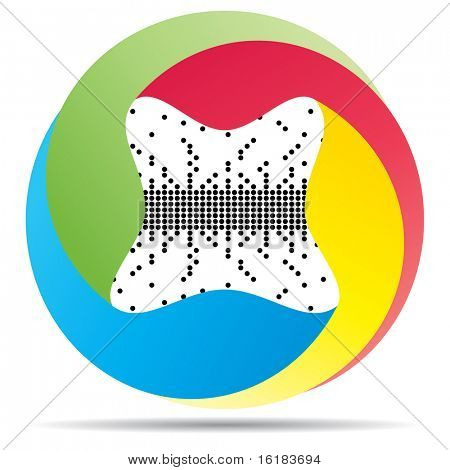 (raster image of vector) pixel button poster