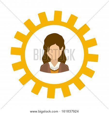Gear and businesswoman icon. Teamwork people corporate and workforce theme. Isolated design. Vector illustration