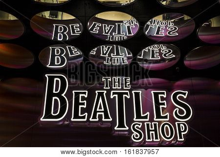 Las Vegas - Circa December 2016: The Beatles Shop at The Mirage. This is the only licensed Beatles retail store I