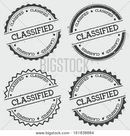 Classified Insignia Stamp Isolated On White Background. Grunge Round Hipster Seal With Text, Ink Tex