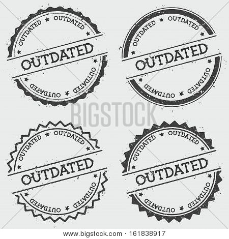 Outdated Insignia Stamp Isolated On White Background. Grunge Round Hipster Seal With Text, Ink Textu
