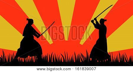 Japanese Samurai Warriors Silhouette With Katana Sword On Orange Sun Background. Vector Illustration