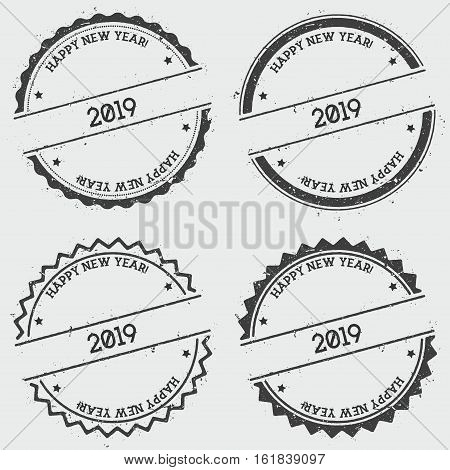 Happy New Year 2019 Insignia Stamp Isolated On White Background. Grunge Round Hipster Seal With Text