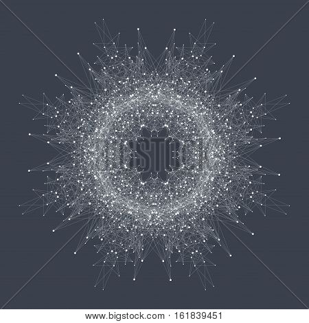 Fractal element with compounds lines and dots. Big data complex. Graphic abstract background communication. Minimal array. Digital data visualization. Lines plexus. Vector illustration