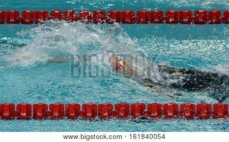 Backstroke swimming woman. Swimmer in swimming pool.