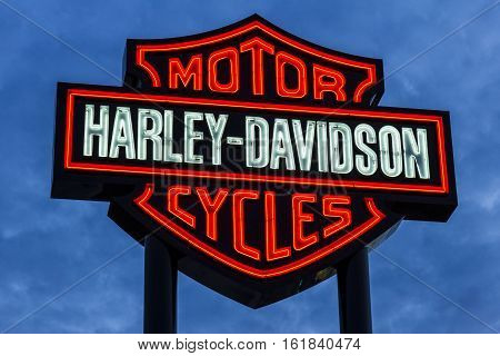 Las Vegas - Circa December 2016: Harley-Davidson Local Signage. Harley Davidson's Motorcycles are Known for Their Loyal Following V