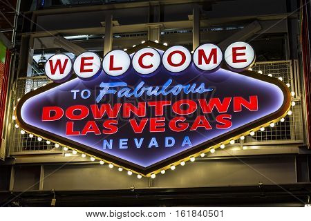 Las Vegas - Circa December 2016: Welcome to Fabulous Downtown Las Vegas sign on Fremont Street I