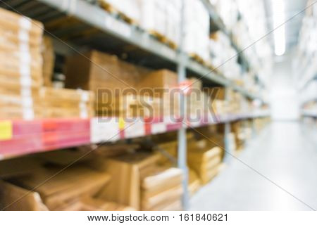 Blurred Background Home Mart Product On Shelf At Store