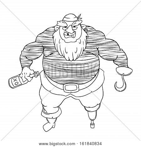 One-legged, bearded pirate in bandana. A man in a vest, with a bottle of alcohol and a hook. Vector character design isolated on white background. Coloring page