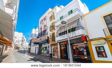 Ibiza, Spain - November 6th, 2013:  Quiet streets of St Antoni de Portmany on the island of Ibiza, Spain in the off-season month of November.