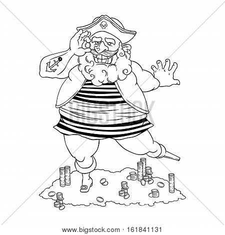 Happy tattooed pirate with a prosthetic device, a coin in his hand and treasure. Cocked hat. Vector illustration isolated on white background. Coloring page