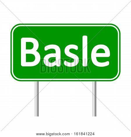 Basle road sign isolated on white background.