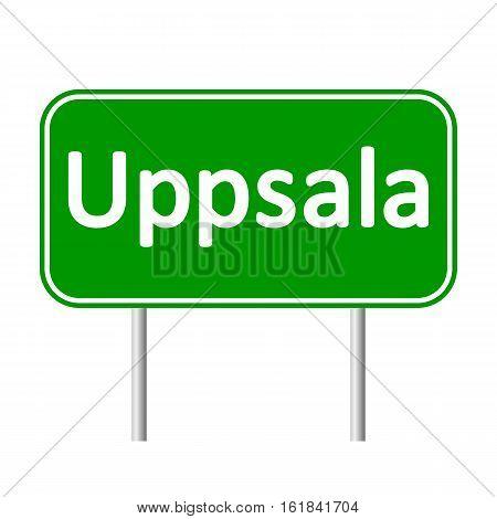Uppsala road sign isolated on white background.