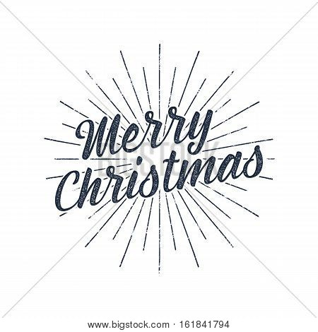 Merry Christmas typography label. Retro photo overlay, badge. Vector holiday lettering illustration. Xmas greeting sign isolated. Rustic style. Stock holiday insignia.