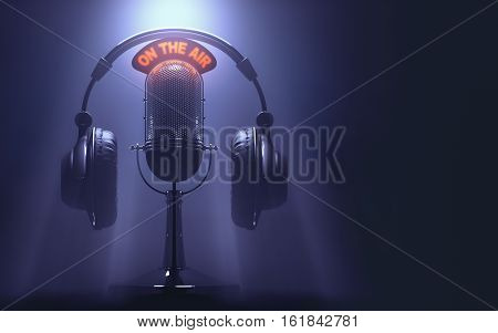 3D illustration of headset on the microphone with the