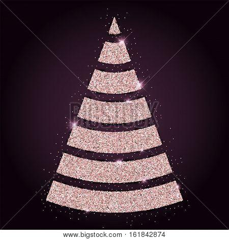 Pink Golden Glitter Splendid Christmas Tree. Luxurious Christmas Design Element, Vector Illustration