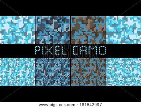 Pixel camo seamless pattern Big set. Urban blue camouflages. Vector fabric textile print designs