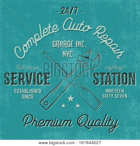 Service station vintage label, tee design graphics, auto repair service typography print. T-shirt stamp, teeshirt graphic, premium retro artwork. Use also as emblem, logo on web projects. .