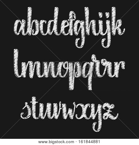 Font chalk effect on the basis of handwriting calligraphy, modern cursive script brush.