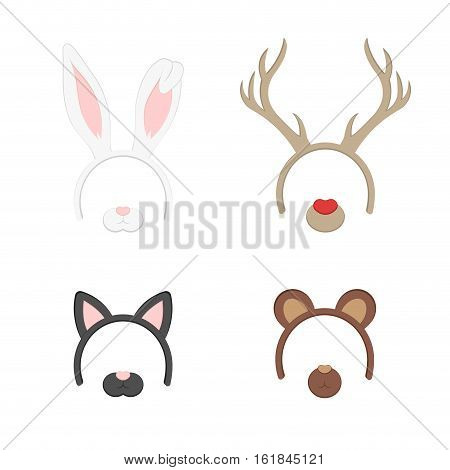 Cartoon Cute Headband with Ears Holiday Set. Rabbit deer cat bear. Flat Design Style. Party Mask Vector illustration