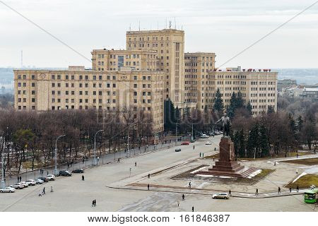 Top view of the Kharkiv National University and the Lenin monument on Freedom Square in Kharkov, Ukraine.