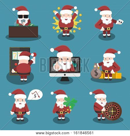 Collection of vector cartoon Santa Claus character in casino and poker situations and poses. Concept of Lucky New Year and Christmas.