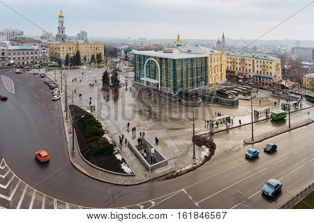Top view of the Kharkiv Historical Museum, Independence Monument, Dormition Cathedral in the Constitution Square in Kharkiv, Ukriana.