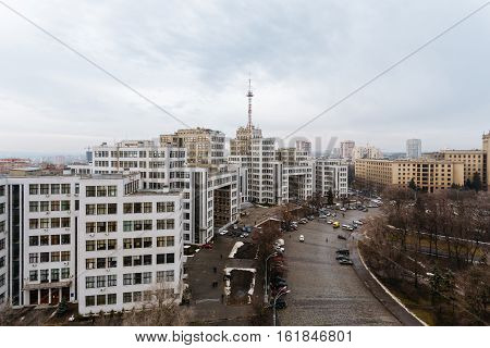 Top view of the Derzhprom - House state industry, a monument of architecture in the style of Constructivism in Kharkov, Ukraine.