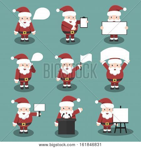 Collection of vector cartoon Santa Claus character in responsive and business poses and situations. Concept of Happy New Year and Christmas.