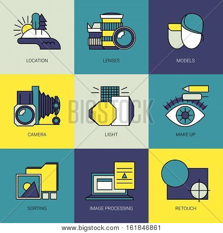 Photography work process. Main parts. Fully editable vector icons