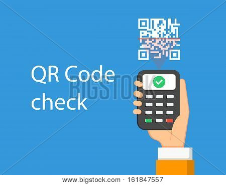 QR scanner in hand check QR code. Vector illustration
