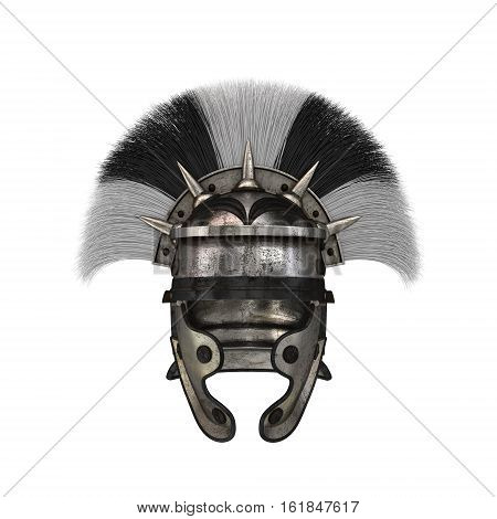 Roman legionary helmet on an isolated white background.