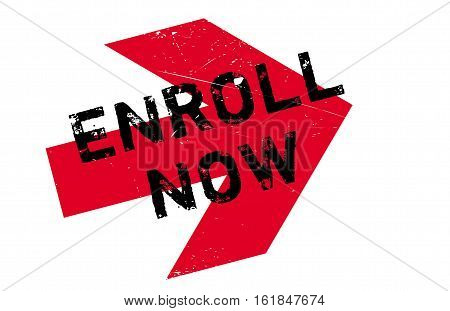 Enroll now stamp. Grunge design with dust scratches. Effects can be easily removed for a clean, crisp look. Color is easily changed.