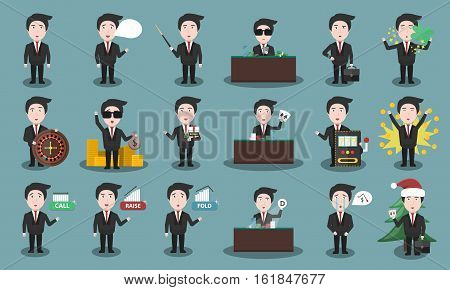 Big collection of vector cartoon croupier character in various poses and emotions. Concept of poker game and casino.