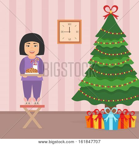 Cute beautiful asian girl child standing on a chair near the Christmas Tree. Room interior in flat style. Christmas vector illustration.