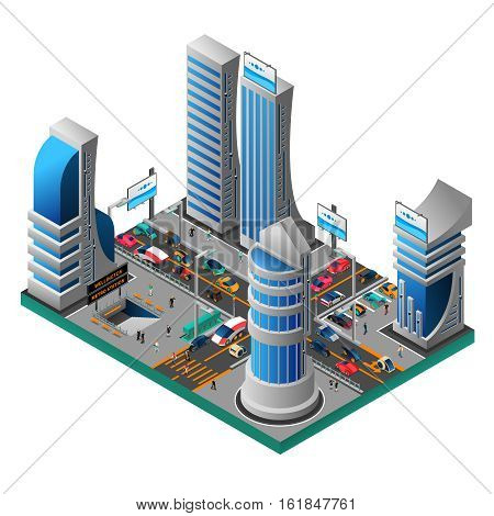 City of future isometric template with futuristic buildings skyscrapers cars people road metro station isolated vector illustration