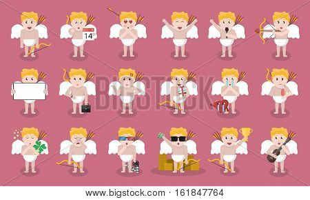 Big collection of vector cartoon Cupid character in various poses and emotions. Concept of Happy Valentine's Day.
