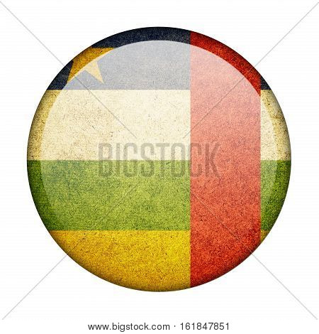 Central African Republic button flag isolated on white background  ,3D illustration