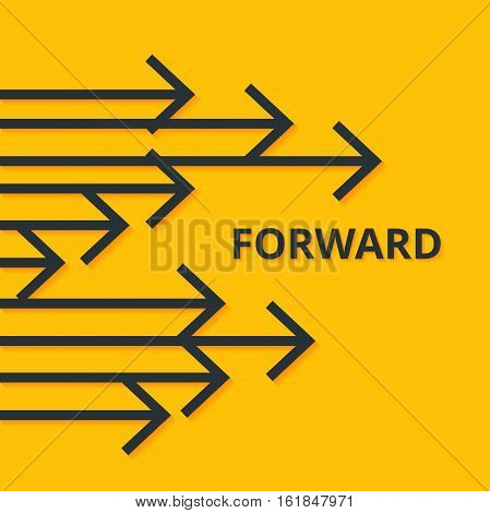 Move forward concept. Arrows and sign. Simple design