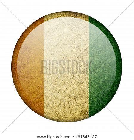 Ivory Coast button flag isolated on white background  ,3D illustration