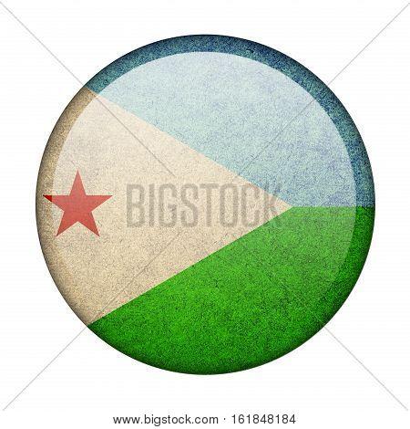 Djibouti button flag isolated on white background  ,3D illustration