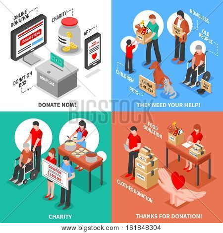 Charity donation for needy adults children and animals isometric 2x2 design concept isolated on colorful backgrounds vector illustration