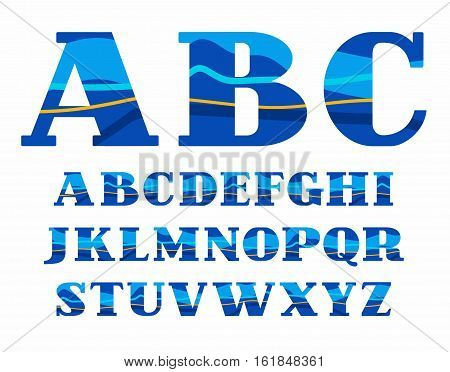 English alphabet, Aqua, vector font, capital letters. Vector colorful letters with serifs. Blue and yellow wave on blue background. Sea waves simulation.