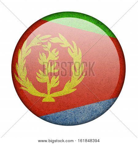 Eritrea button flag isolated on white background  ,3D illustration