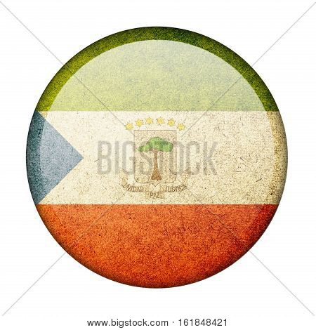 Equatorial Guinea button flag isolated on white background  ,3D illustration