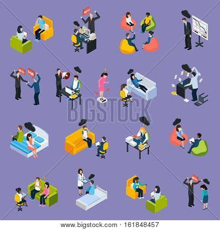 Depression and stress isometric icons with different negative situations people conflicts troubles and problems isolated vector illustration